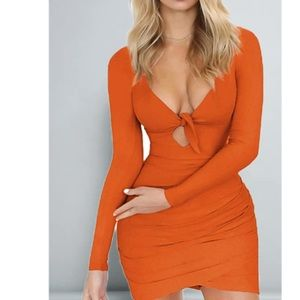 Gorgeous Orange Long Sleeve Dress